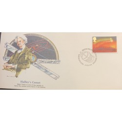 L) 1986 GREAT BRITAIN, HALLEY'S COMET, SPACE, ASTRONOMY, SCIENCE, FDC
