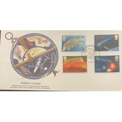 L) 1986 GREAT BRITAIN, HALLEY'S COMET, SPACE, ASTRONOMY, SCIENCE, MULTIPLE STAMPS, FDC