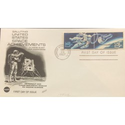 L) 1967 UNITED STATES, ASTRONAUT AND LUNAR EXCURSION MODULE ON MOONS SURFACE, NASA, 5C, FDC