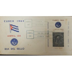 A) 1963, SPANISH ANTILLES, SEAL DAY, 50 YEARS OF ISSUE, CARLOS ROLOFF, CANCELLED