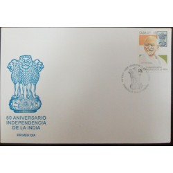 A) 1987, SPANISH ANTILLES, MAHATMA GANDHI, INDIAN FLAG AND STATE ARMS, 50 ANNIVERSARY OF INDIA INDEPENDENCE, FDC