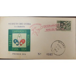 A) 1952, SPANISH ANTILLES, BOYSCOUTS, FDC, THIRD NATIONAL CAMP HAVANA