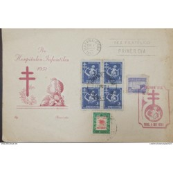 A) 1951, SPANISH ANTILLES, PRO CHILDREN'S HOSPITALS, FDC, MAIL ADMINISTRATION HAVANA
