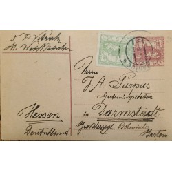 J) 1919 SLOVENIA, POSTCARD, LANDSCAPE, MULTIPLE STAMPS, CIRCULATED COVER, FROM SLOVENIA TO DARMSTADT