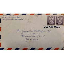 J) 1952 UNITED STATES, CHURCH HAND, MAP, PAIR, AIRMAIL, CIRCULATED COVER, FROM USA TO MEXICO