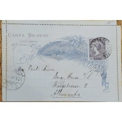 A) 1895, BRAZIL, POSTAL STATIONARY, SHIPPED TO GERMANY