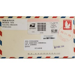 L) 2008 UNITED STATES, FIPEX, 6C, RED, PIGEON, AIRMAIL, CIRCULATED COVER FROM UNITED STATES TO QUITO