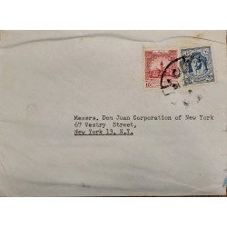 J) 1936 JORDANIA, MULTIPLE STAMP, AIRMAIL, CIRCULATED COVER, FROM JORDANIA TO NEW YORK
