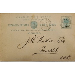 J) 1903 SOUTH AFRICA, TREE, POSTAL STATIONARY, CIRCULATED COVER, FROM SOUTH AFRICA TO SENEGAL
