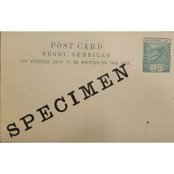 J) 1900 MALAYSIA, POSTCARD, POSTAL STATIONARY, SPECIMEN, XF