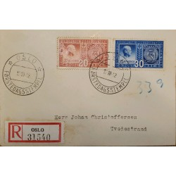 J) 1942 NORGE, DESIGNS OF 1942 AND 1855 STAMPS OF NORWAY, MULTIPLE STAMPS, REGISTERED, CIRCULATED COVER, FROM TVEDESTRAND