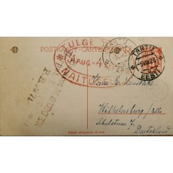 J) 1923 ESTONIA, POSTCARD, GIRL, OVAL CANCELLATION ORANGE, POSTCARD, POSTAL STATIONARY, CIRCULATED COVER, FROM TORTU TO GERMANY