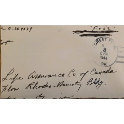 J) 1944 GEORGIA, USA MILITARY MAIL, FOREST PARK, FREE, CIRCULATED COVER, FROM FOREST PARK