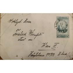 J) 1917 BOSNIA HERZEGOVINA, CHURCH, AIRMAIL, CIRCULATED COVER, FROM BOSNIA AND HERZEGOVINA TO AUSTRIA
