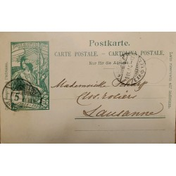 J) 1900 SWITZERLAND, POSTCARD, JUBILEE OF UNIVERSAL UNION, POSTAL STATIONARY, CIRCULATED COVER, FROM SWITZERLAND TO LAUSANNE