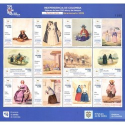 A) 2019, COLOMBIA, INDEPENDENCE OF COLOMBIA, BICENTERNARY, THIRD SERIE, STAMPS