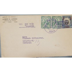J) 1923 PANAMA, POSTAL STATIONARY, 2C CN 5C BLUE POSTAL STATIONARY EVENLOPE, USED WITH ADDED PAIR 1921 1C GREEB TIED BY DAVID