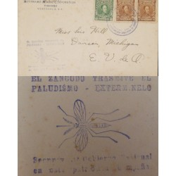 J) 1935 CIRCA VENEZUELA, ANTI MALARIA CACHET COVER FRANKED WITH 1924 GREEN AND 2X15C BROWN TIED
