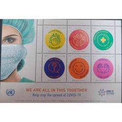 A) 2020, UNITED NATIONS, FIGHT AGAINST THE PANDEMIC, WE ARE ALLIN THIS TOGETHER, MINISHEET 150X105MM