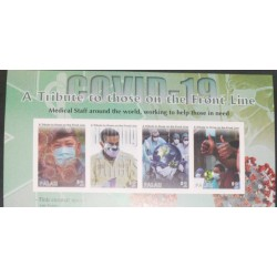 A) 2020, PALAU, FIGHT AGAINST THE PANDEMIC, TRIBUTE TO THOSE ON THE FRONT LINE, IMPERFORATE