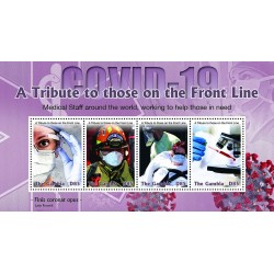 A) 2020, GAMBIA, FIGHT AGAINST PANDEMIC, TRIBUTE TO THE WORKERS, MINISHEET