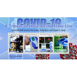A) 2020, GRENADA, CORONA COMBAT CAMPAIGN 2020, PANDEMIC, TRIBUTE TO THOSE ON THE FRONT LINE, MINISHEET