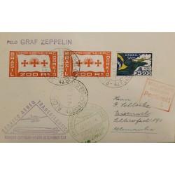 A) 1933, BRAZIL, FROM RECIFE TO GERMANY, TRANSATLANTIC AIR SERVICE ZEPPELIN