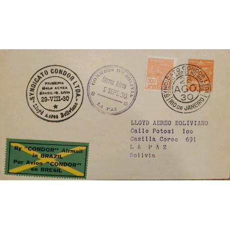 A) 1930, BRAZIL, FROM RIO DE JANEIRO TO THE PAZ – BOLIVIA, AERIAL, CONDOR LLOYD UNION