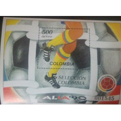 A) 1990, COLOMBIA, WORLD CHAMPIONSHIP, ITALY, AERIAL, CARVAJAL S.A ENGRAVING, MINISHEET