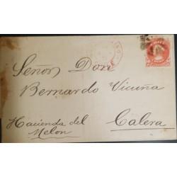 A) 1874, CHILE, FROM VALPARAISO TO CALERA, COLON ORANGE STAMP