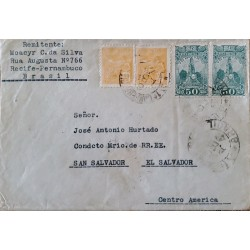 A) 1889, BRAZIL, FROM RECIFE – PERNAMBUCO TO SAN SALVADOR, STAMPS OF AVIATION AND BARTHOLOMEU GUSMAO