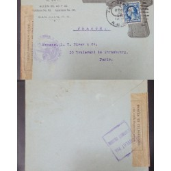 J) 1945 UNITED STATES, WASHINGTON, GUN, PURPLE CANCELLATION, OPEN BY EXAMINER, CIRCULATED COVER, FROM USA TO FRANCE