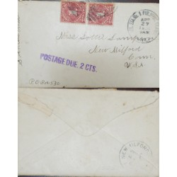 J) 1900 PHILIPPINES, NUMERAL, MILITARY STATION NO 1 POSTAGE DUE 2 CTS, CIRCULATED COVER, FROM NEWFOUNDLAND TO USA