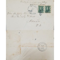 J) 1906 PHILIPPINES, US OCCUPATION ANGAY BULACAN, CIRCULATED COVER, FROM PHILIPINNES TO MAMILA