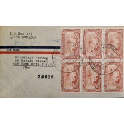 L) 1929 HONDURAS, ARCHITECTURE, BLUE, 6C, STATUE, RED 50C, OVER PRINT, 25C, TELA MIAMI, SIGNED BY THE PILOT, F5 25, XF