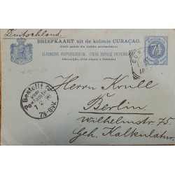 J) 1898 CURACAO, POSTAL STATIONARY POST CARD, CIRCULATED COVER, FROM CURACAO