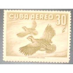 A) 1956, SPANISH ANTILLES, BIRDS, AERIAL, STAMP PRINTED BY CUBA, SHOWING THE NORTH OF QUAIL