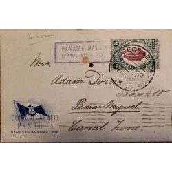 L) 1933 ECUADOR, COCOA NATIONAL, 5C, AIRMAIL, PANAGRA, CIRCULATED COVER FROM ECUADOR TO CANAL ZONE