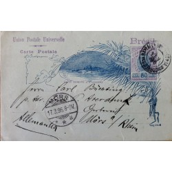 A) 1896, BRAZIL, POSTAL STATIONARY, FROM BAHIA TO GERMANY, SHIFTED, BREAD OF SUGAR STAMP