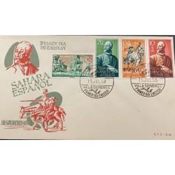 A) 1958, SPAIN, SAHARA SPAIN, FDC, VILLA CISNEROS, MIGUEL CERVANTES, DON QUIJOTE Y SANCHO PANZA, THE ADVENTURE OF THE LION