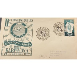 A) 1957, SPAIN, PRO HUNGARIAN CHILDHOOD, FROM BARCELONA, PHILATELIC EXPOSURE