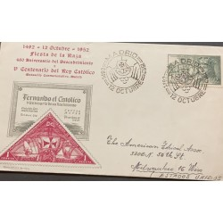 A) 1952, SPAIN, FROM MADRID TO UNITED STATES, FDC, TRIANGLE STAMP