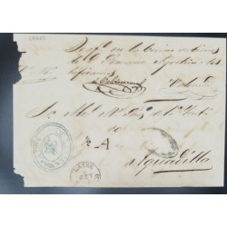 J) 1862 PUERTO RICO, FRONT LETTER, CIRCULATED COVER, FROM LARES TO AGUADILLA