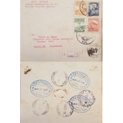 J) 1931 MEXICO, CUAUHTEMOC MONUMENT, COLUMBUS MONUMENT, BLOCK OF 4, REGISTERED, AIRMAIL, CIRCULATED COVER