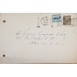 J) 1943 MEXICO, MALARIA, OPEN WITH EXAMINER, TOWER OF THE REMEDIOS, MULTIPLE STAMPS, AIRMAIL, CIRCULATED COVER