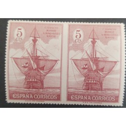 A) 1930, SPAIN, BOAT, EDI:534SPH, 5CTS, LILA RED, IMPERFORATE PAIR NOT CATALOGUE, NOT RECORDED