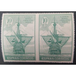 A) 1930, SPAIN, BOAT, EDI:536SPH, IMPERFORATE PAIR ON GREEN, NOT PREVIOUSLY RECORDER, 10CTS