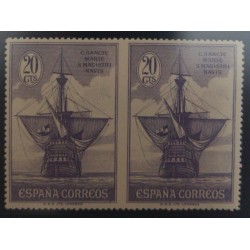 A) 1930, SPAIN, SANTA MARIA, BOAT, 20 CTS, VIOLET, IMPERFORATE PAIR, NOT PREVIOUSLY RECORDED, EDI:538SPH