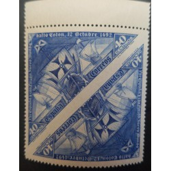 A) 1930, SPAIN, 40CTS, TRIANGLE, IMPERFORATE PAIR, BOAT, BLUE, MNH, EDI:5415PV