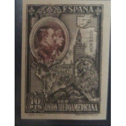 A) 1930, SPAIN, KINGS, 10PTS, ENGRAVED, CARMIN AND GREY, NOT RECORDED AND NOT CATALOGUED